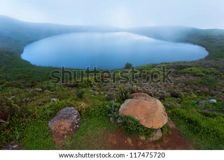 Laguna El Junco, island San Cristobal, Galapagos Islands, Ecuador - stock photo