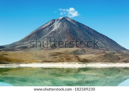 Laguna Verde is a salt lake at the foot of the volcano Licancabur - Eduardo Avaroa Andean Fauna National Reserve, Bolivia - stock photo