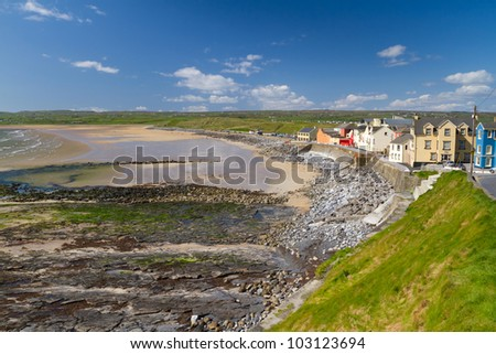 Lahinch beach scenery in Co. Clare, Ireland - stock photo
