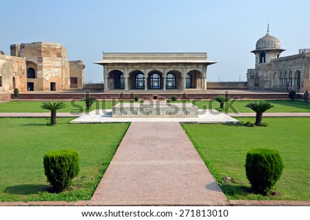LAHORE, PAKISTAN  - APRIL 4 2015: Diwan-e-Khas, or Hall of Private Audience was constructed of pure white marble and was served as a quiet meeting place for the Emperor. - stock photo