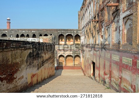 LAHORE, PAKISTAN - APRIL 4 2015: Elephant Path at the Lahore Fort was built for the elephants to allow the ladies to enter the Citadel without the necessity of dismounting. - stock photo