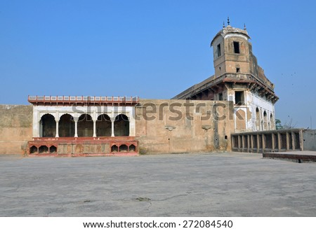 LAHORE, PAKISTAN - APRIL 4 2015: Lahore Fort is citadel of the city of Lahore and the existing base structure was built by Emperor Akbar between 1556 and 1605. - stock photo