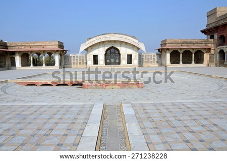 LAHORE, PAKISTAN - APRIL 4 2015: Naulakha Pavilion is a white marble personal chamber in the Lahore Fort and was built during 1631 and 1633 by the Mughal emperor Shah Jahan as a summer house. - stock photo