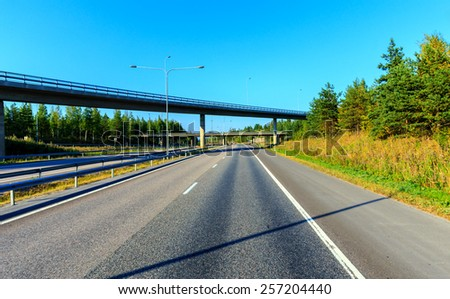 Lahti motorway in the summer - stock photo