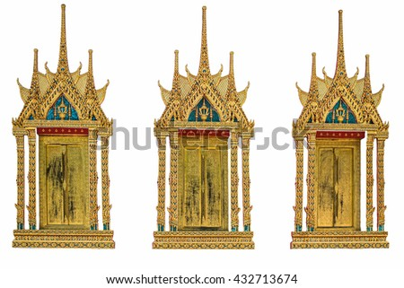 Lai Thai painting on Wood windows is closed or locked in the temple, Thailand. Painted the Lai Thai, Gilded Black Lacquer. Traditional Thai style art painting on door of temple. - stock photo