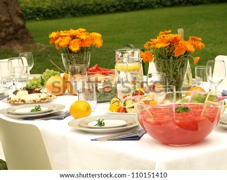 Laid table in a garden ready for a party - stock photo