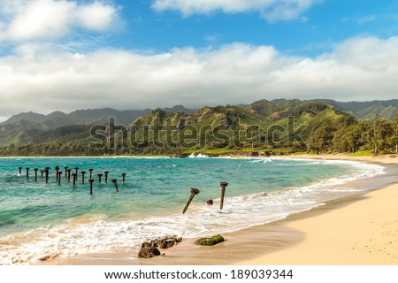 Laie Beach Park, commonly referred to as Pounders Beach, on Oahu, Hawaii - stock photo