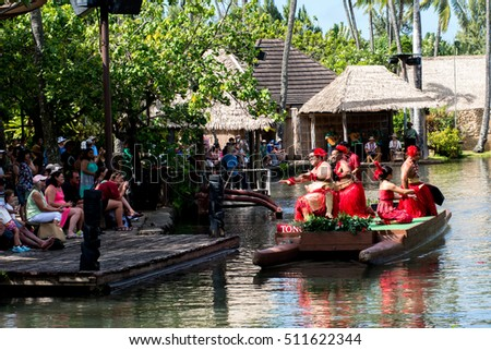 Laie, HI: October 5, 2016: Polynesian Culture Center on the island of Oahu. The Polynesian Culture Center opened in October 12, 1963.