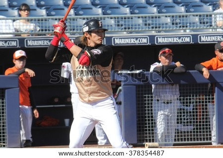 Laird, Brandon infielder for the Hokkaido-Ham Fighters at the Peoria Sports Complex in Peoria,AZ USA 2-10-16.