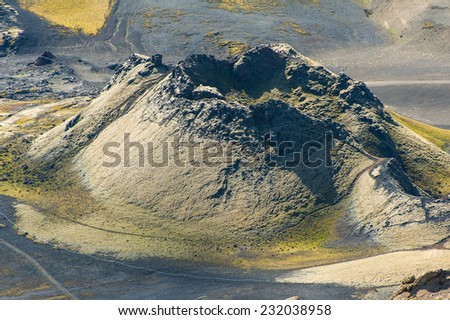 Lakagigar is a row of appox. 130 volcanic craters on the Southern Iceland. The biggest one is the volcano Laki the eruption of which was one of the greatest disasters in the 18th century.  - stock photo