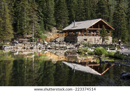 Lake Agnes Tea House, Lake Louise, Banff National Park, Alberta, Canada  - stock photo