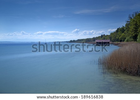 Lake Ammersee, Bavaria, Germany, long time exposure
