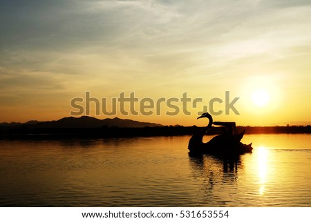 Lake and beautiful sunset