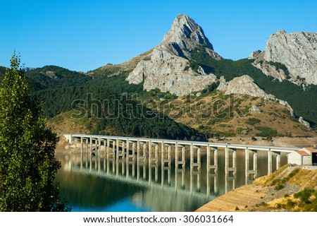 Lake and brdge in north of Spain - stock photo