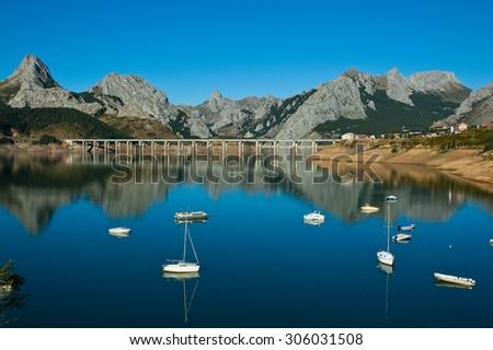 Lake and bridge in north of Spain - stock photo