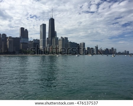 Lake and buildings view in Chicago