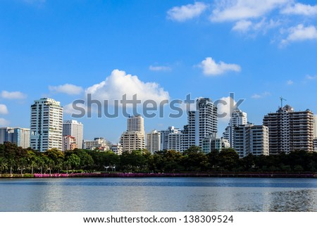 Lake and Cityscape in Sunny Day, Bangkok, Thailand