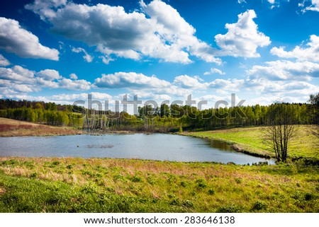 Lake and forest, pure clean Masurian landscape. Poland - stock photo