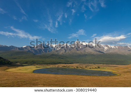 lake and high mountains - stock photo