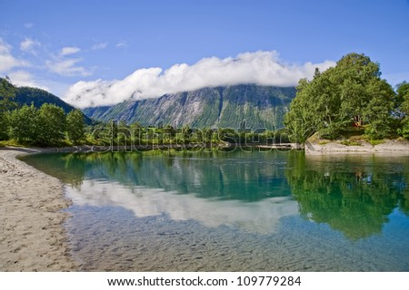 Lake and mountain in background in Norway