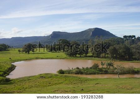 Lake and mountains at Canela, Rio Grande do Sul - Brazil. - stock photo