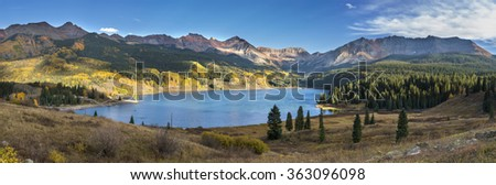 Lake and mountains of Colorado - stock photo