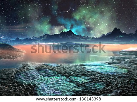 Lake and Mountains on Distant World - stock photo