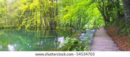 Lake and path from Plitvice - stock photo