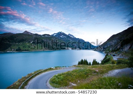 Lake and Road near Tignes, France