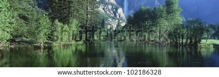Lake and trees, California - stock photo