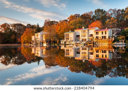 Lake Anne Reston Virginia Luxury Lakefront Townhomes Fairfax County - stock photo