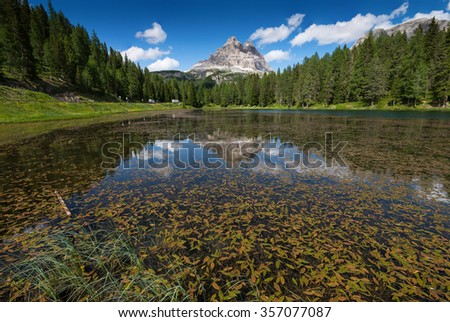Lake Antorno in Dolomites with reflection