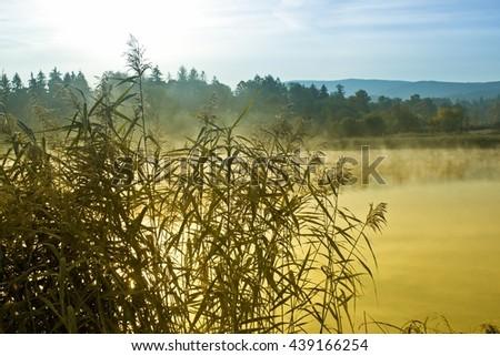 Lake at frosty morning - stock photo