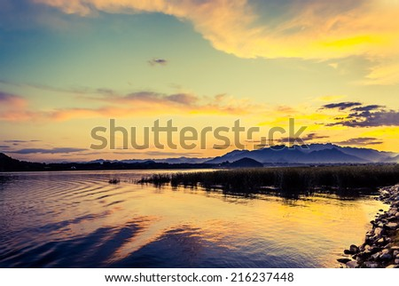 lake at sunset