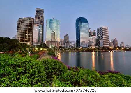 Lake at the Benchakitti Park in Bangkok on 23 Jan 2016. Benjakiti Park is a park in honor of Her Majesty Queen Sirikit, is located in the factory area.night shoot.