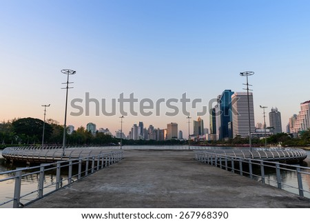 Lake at the Benchakitti Park in Bangkok thailand on 26 Febuary 2015. Benjakiti Park is a park in honor of Her Majesty Queen Sirikit, is located in the factory area. - stock photo