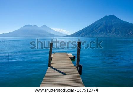 Lake Atitlan in Gautemala - View of San Marcos - stock photo