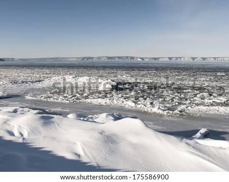 Lake Baikal in the beginning of winter