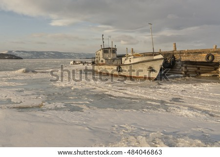 Lake Baikal. Old ship.
