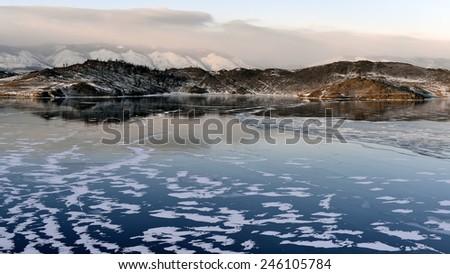 Lake Baikal. Sunset in winter. - stock photo