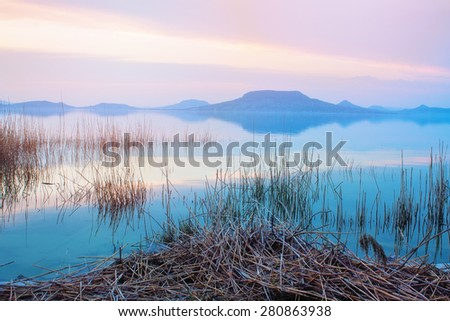 Lake Balaton during the blue hour in the late evening - stock photo