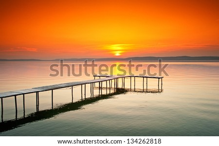 Lake Balaton with a very nice sunset at summer in Hungary - stock photo