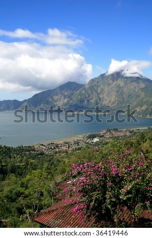 Lake Batur in the crater of the volcano, Indonesia, Bali