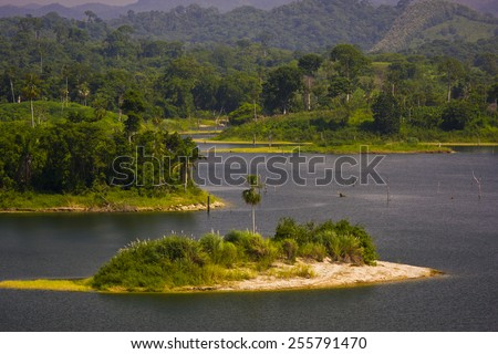LAKE BAYANO, PANAMA - AUGUST 13, 2009: Man-made reservoir Lake Bayano, Comarca Kuna de Madungandi indigenous territory. - stock photo
