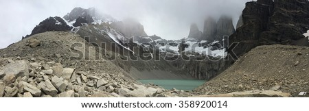 Lake below Los Torres in Torres del Paine National Park, Chile - stock photo