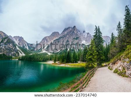 lake between mountains  - stock photo