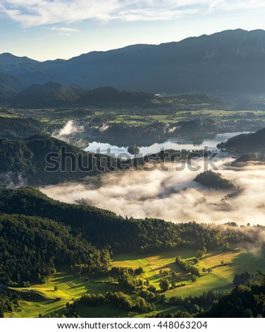 Lake Bled on a misty morning - stock photo