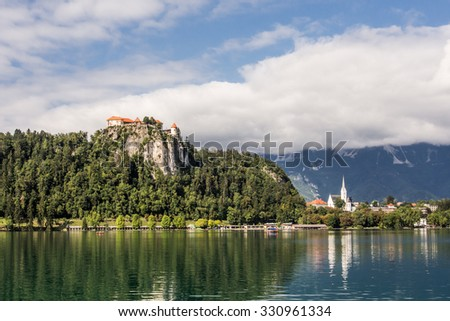 Lake Bled with castle in Slovenia