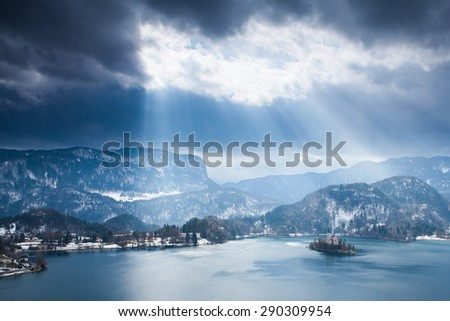 Lake Bled with island, Slovenia during winter