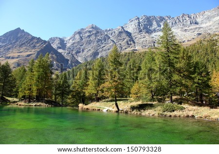 Lake Blue of Breuil-Cervinia at the foot of Matterhorn in autumn, Italy